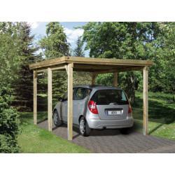 Carport pour voiture en pin traité autoclave de 11,70 m² - 398 x 294 x 233 cm - Toiture acier galvanisé
