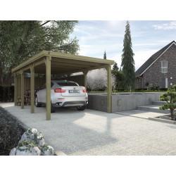 Carport pour voiture en bois traité autoclave de 17 m2- 591 x 294 x 229 cm - Toiture en acier galvanisé