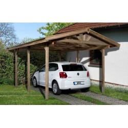 Abri de Voiture en pin traité autoclave de 11,20 m² - 389 x 288 x 270 cm - Toiture bardeau bitumeux
