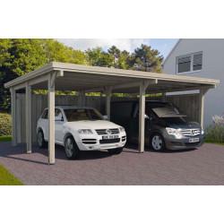 Carport double pour voitures en bois traité autoclave de 34 m² - 591 x 576 x 233 cm – Toiture en acier galvanisé