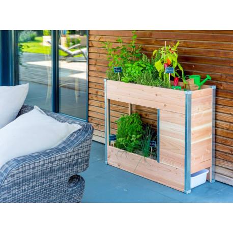 Jardinière composteur sur pied en bois certifié - 75 x 35 x 80 cm