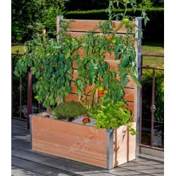 Jardinière avec palissade en bois pour potager – 75 x 35 x 136 cm