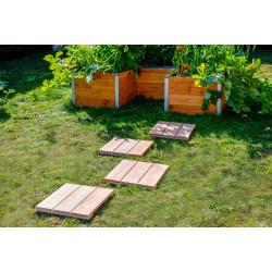 Lot de 4 dalles carrées en bois Douglas non traité - 37 x 37 x 3.8 cm