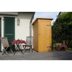 Armoire de jardin avec porte en épicéa brut et toit en bois massif - 83 x 85 x 195 cm