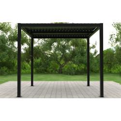 Pergola bioclimatique autoportée en aluminium avec lames orientables manuellement – 4 x 3 m – 12 m²