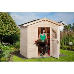 Abri de jardin en épicéa brut- 205 x 154 x 227 cm - 3,15 m² - Toiture bardeau bitumé