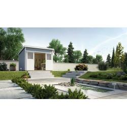 Abri de jardin en épicéa de couleur gris - 209 x 295 x 238 cm – 6,16 m² - Toiture membrane