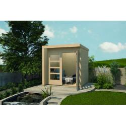 Abri de jardin carré en épicéa brut – 205 x 209 x 218 cm - 4,28 m² - Toiture membrane