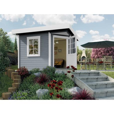 Abri de jardin pentagonal en épicéa gris clair – 278 x 278 x 237 cm – 5,38 m² - Toiture Membrane