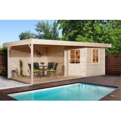 Abri de jardin en épicéa avec terrasse - 238 x 541 x 237 cm - 12,87 m² - Toiture membrane