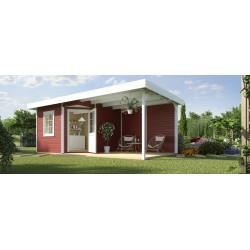 Abri de jardin avec terrasse et toit plat - 238 x 541 x 237 cm – 12,87 m² - Toiture membrane