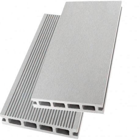 Lame de terrasse alvéolaire réversible composite - 260 x 14,6 x 2,4 cm – Gris