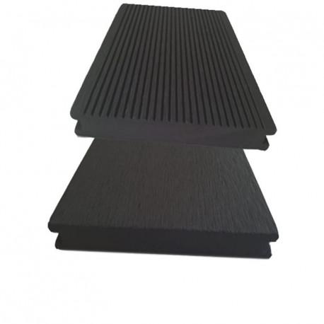 Lame de terrasse pleine en composite réversible - 260 x 14 x 2 cm - Couleur chocolat