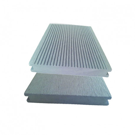 Lame pleine pour terrasse réversible en composite de couleur gris clair – 260 x 14 x 2 cm