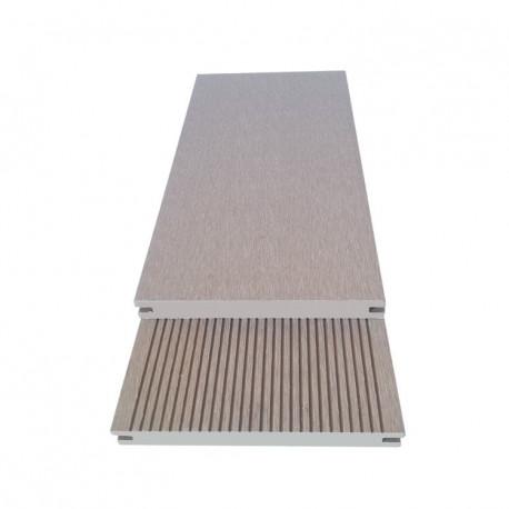 Lame pleine pour terrasse en composite réversible - 260 x 14 x 2 cm – Couleur beige