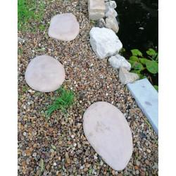 Pas japonais de jardin en pierre reconstituée galet brun