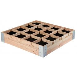 Carré potager avec séparateurs en bois Douglas non traité – 100 x 100 x 20 cm
