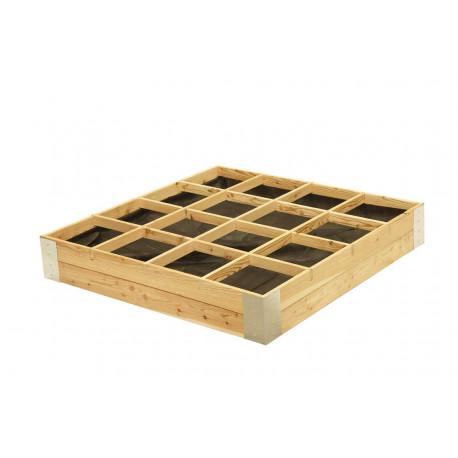 Carré potager avec séparation en bois Mélèze non traité – 120 x 120 x 20 cm