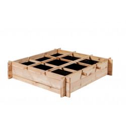 Carré potager en bois mélèze non traité avec 9 compartiments – 90 x 90 x 20 cm