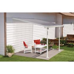 Pergola à adosser en aluminium blanc – 305 x 295 x 260 cm – 9 m² - Toit en polycarbonate
