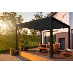 Pergola bioclimatique autoportée en aluminium avec lames orientables manuellement - 300 x 400 x 250 cm - 12 m² - Gris Anthracite
