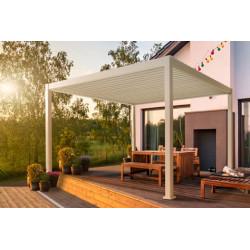 Pergola bioclimatique autoportée en aluminium avec lames orientables manuellement - 300 x 400 x 250 cm - 12 m² - Blanc