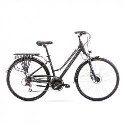 Vélo trekking Gazela 4 - 28 pouces en aluminium 6061 – Gris Noir – Taille M ou L