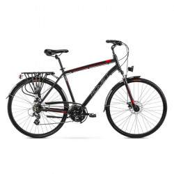 Vélo trekking Wagant 2 - 28 pouces en aluminium 6061 – Noir Rouge – Taille M, L ou XL