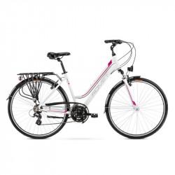 Vélo trekking Gazela 1 - 28 pouces en aluminium 6061 – Blanc Rose – Taille M ou L