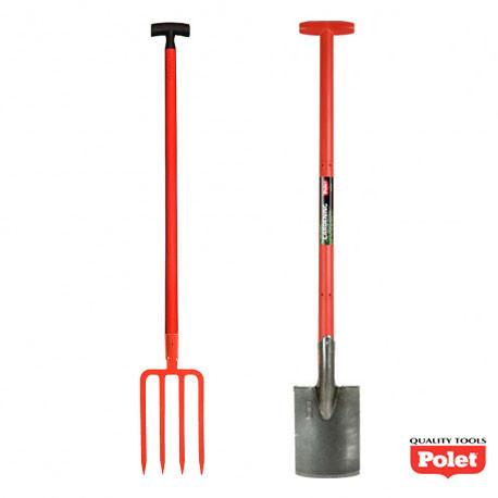 Lot d'outils de jardin bêche et fourche à bêcher manche fibre 95 cm - POLET