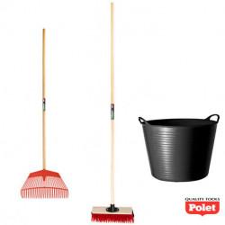 Kit d'outils de jardin spécial entretien – balai, râteau et panier de jardin - POLET