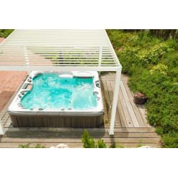 Pergola bioclimatique autoportée en aluminium avec lames orientables manuellement – 360 x 360 x 250 cm – 13 m² - Blanc