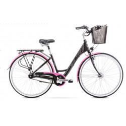 Vélo de ville Moderne 7 - 28 pouces en aluminium 6061 – Noir et Rose – Taille M ou L