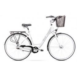Vélo de ville Moderne 7 - 28 pouces en aluminium 6061 – Blanc et Noir – Taille M ou L