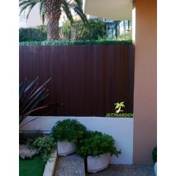 Canisse de jardin en PVC 250 x 180 cm noyer effet bois