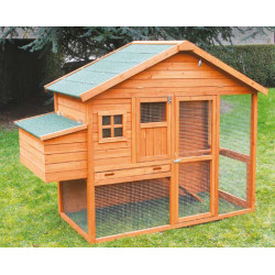 Poulailler Volière Dakota en bois traité avec toit en toile goudronnée – Capacité 4 à 6 poules - 200 x 86 x 150 cm