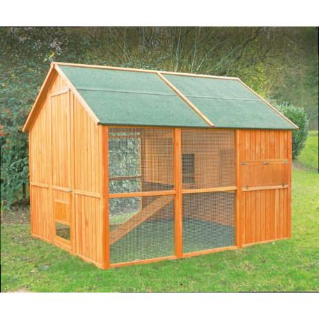 Maxi Poulailler Volière Norway en bois teinté avec toit en toile goudronnée – Capacité 10 à 12 poules – 245 x 190 x 190 cm