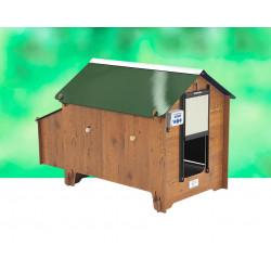 Poulailler en HPL aspect bois Bergame – Capacité 4 à 6 poules – 131 x 84 x 87 cm