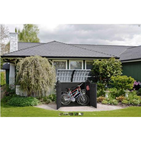 Coffre de rangement multifonctions en résine noir et gris Woodland - Contenance 2000 L – 177 x 113 x 134 cm
