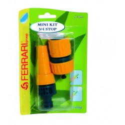 Mini kit avec petite lance réglable et raccord aquastop pour tuyau Ø int. 19 mm