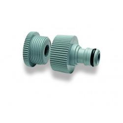 Nez de robinet fil. 3/4ʺ Femelle avec coupleur mâle avec adaptateur 3/4ʺ Mâle - 1/2ʺ Femelle