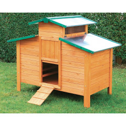 Poulailler Ottawa en bois teinté et toiture en métal galvanisé – Capacité 5 à 7 poules – 140 x 88 x 116 cm