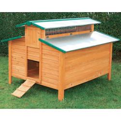 Poulailler Calgary en bois teinté et toiture en métal galvanisé – Capacité 8 à 12 poules – 158 x 140 x 116 cm