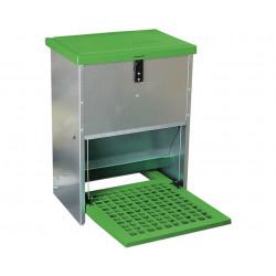 Mangeoire anti-gaspillage avec pédale pour volailles – Capacité 12 kg – 48 x 34 x 48 cm