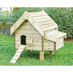 Poulailler Ardennais grand modèle en bois traité autoclave épais – Capacité 4 à 7 poules – 128 x 111 x 135 cm