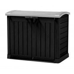 Coffre de rangement en résine Store It Out Noir avec toit bombé - Contenance 1200 L – 146 x 82 x 120 cm
