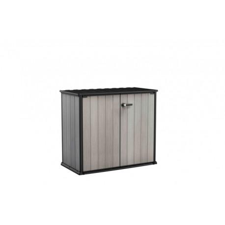 Armoire basse de jardin en résine gris Brossium - Contenance 1000 L – 139,5 x 77 x 120 cm