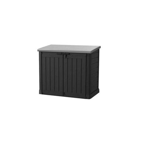 Coffre de rangement en résine Sio Max noir avec toit plat - Contenance 1200 L – 145,5 x 82 x 125 cm
