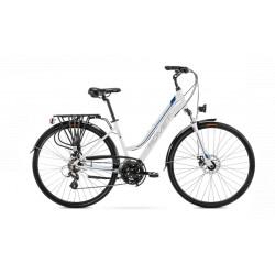 Vélo trekking Gazela 2 - 28 pouces en aluminium 6061 – Blanc Bleu – Taille M ou L