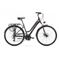 Vélo trekking Gazela 2 - 28 pouces en aluminium 6061 – Noir Rose – Taille M ou L